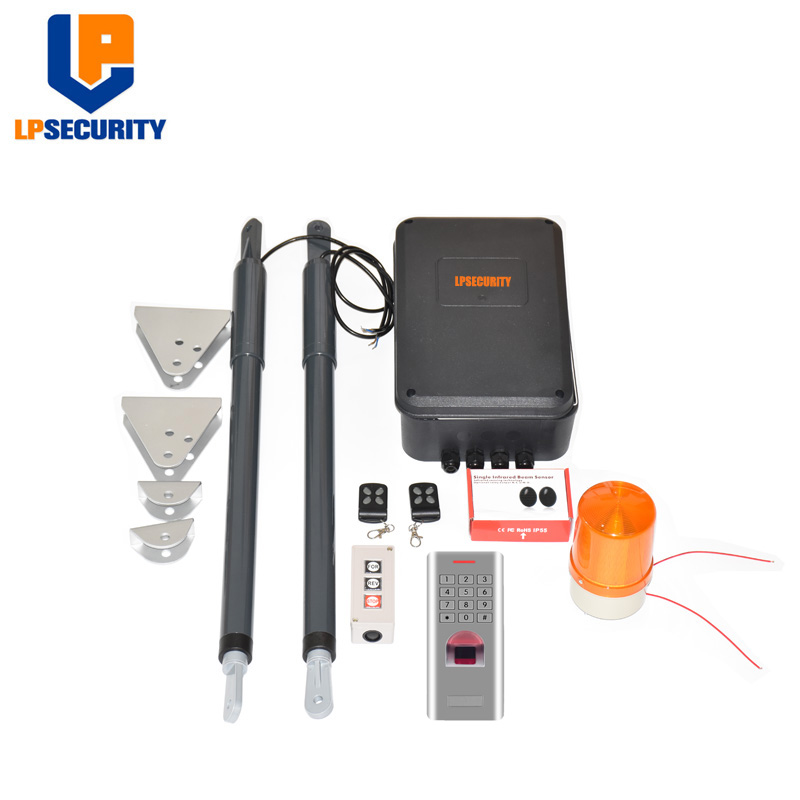 12VDC 200kg Per Leaf Swing Gate Opener System Electrical Gate Motor With Optional Outdoor Fingerprint Keypad Reader