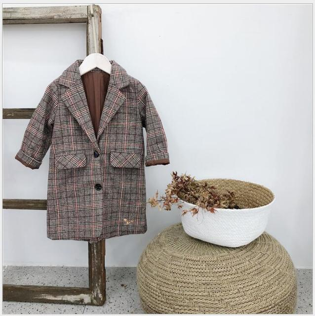 classic girls long trench fall winter outwear coat vintage toddler girls plaid checks pocket jacket fashion maxi coat clothing