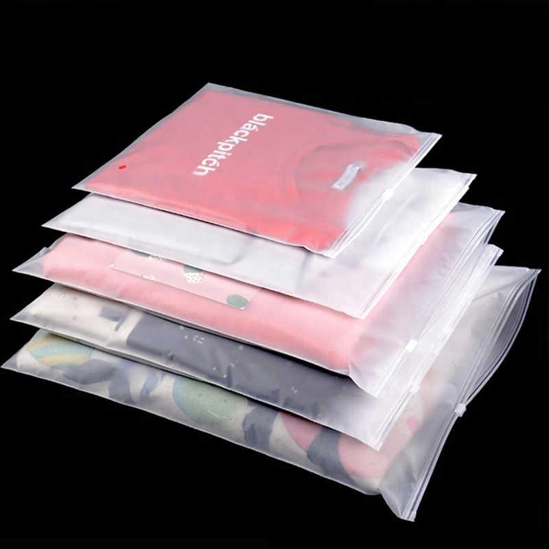 1 Uds. Bolsa con cierre de cremallera de plástico transparente mate para ropa bolsa de almacenamiento de paquetes bolsa de viaje con cierre de cremallera bolsas con cierre deslizante organizador de ropa