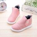 2015 criança inverno botas casuais para meninas miúdos bebê moda sapatos de couro meninas princesa botas de algodão acolchoado botas aquecimento tornozelo