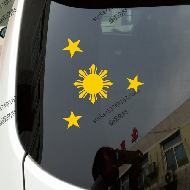 Eight ray sun with stars flag of philippines car sticker decalchoose size and