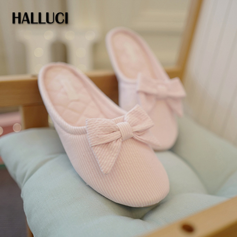 HALLUCI Bowknot candy color cotton home slippers shoes for women flip flops simple striped bedroom slippers sapatos mulher halluci breathable sweet cotton candy color home slippers women shoes princess pink slides flip flops mules bedroom slippers
