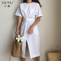 GUTU 2017 Summer New Solid Color Loose Round Neck Natural Waist Vintage Split The Fork