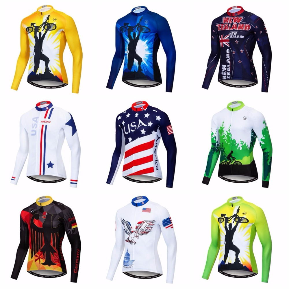 2018 Germany Cycling Long Jersey Men Mountain Bike Jersey Fall Pro Mtb Bicycle Shirts Long Sleeve Team Road Racing Top Black Red Cycling Jerseys Sports & Entertainment