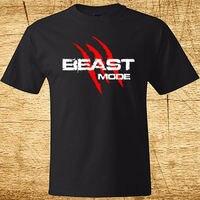 Nowy BESTIA TRYB Pazury Logo * Marshawn Lynch męska Czarny T-Shirt Rozmiar S-2XL Lato Krótkie Rękawy T Shirt Mody światło