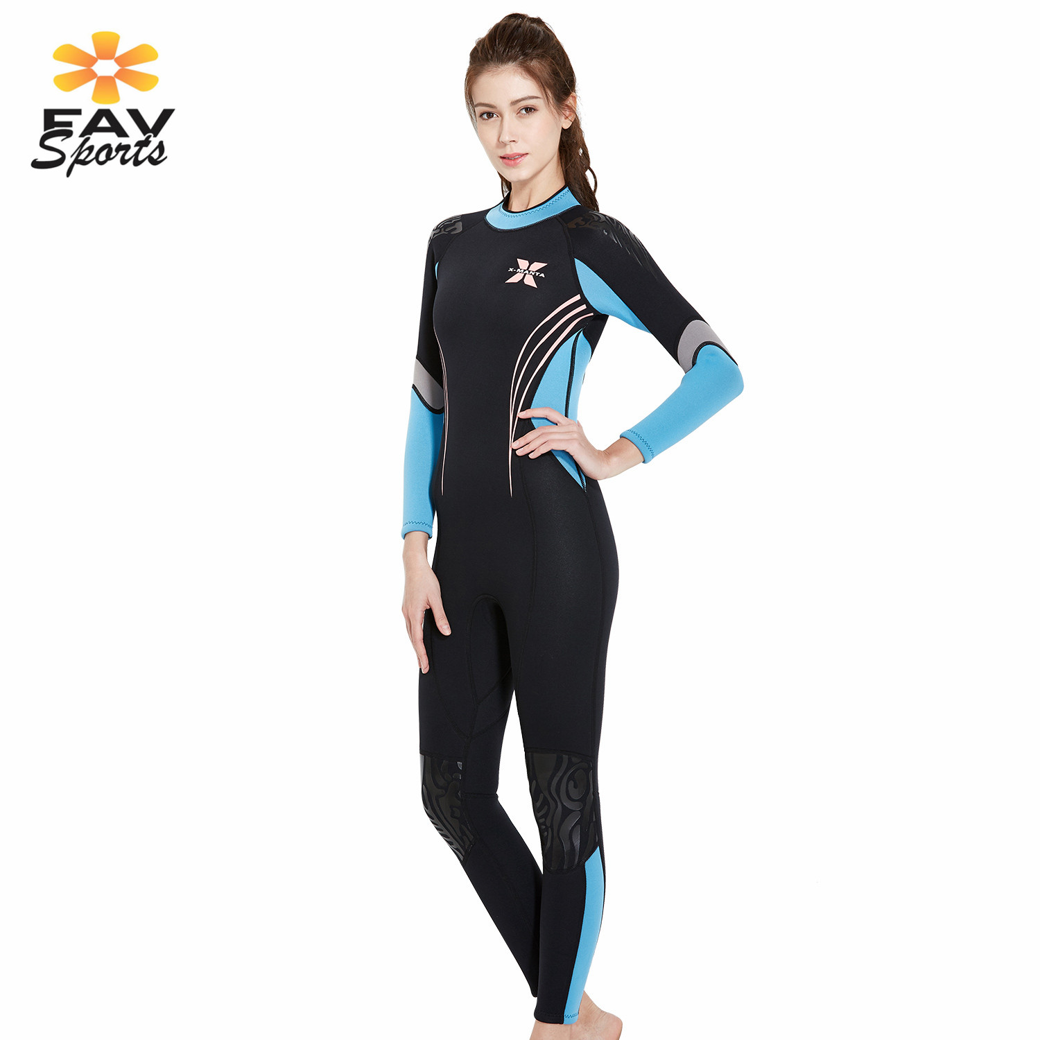 Womens Wet Suit 3mm Scuba Neoprene Wetsuits Anti UV Diving Suits Long Sleeve Surfing Jumpsuit for