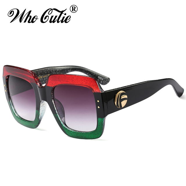c59d9058d32 WHO CUTIE 2018 Oversized Square Sunglasses Red Black Green Three Colorblock  Glitter Gradient Lens RAY Sun Glasses Shades WG-006