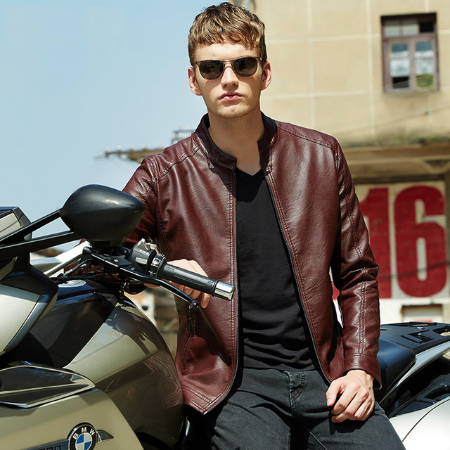 Free Shipping 2015  Men Brand Motorcycle PU Leather Jackets  Winter Mens Fur Coat Biker Jacket .Men's Leather Jacket BGSD602
