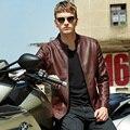 O Envio gratuito de 2015 Motocicleta PU Jaquetas De Couro Dos Homens Da Marca do Inverno da Pele Dos Homens Casaco Jaqueta de Motoqueiro. Jaqueta de Couro dos homens BGSD602