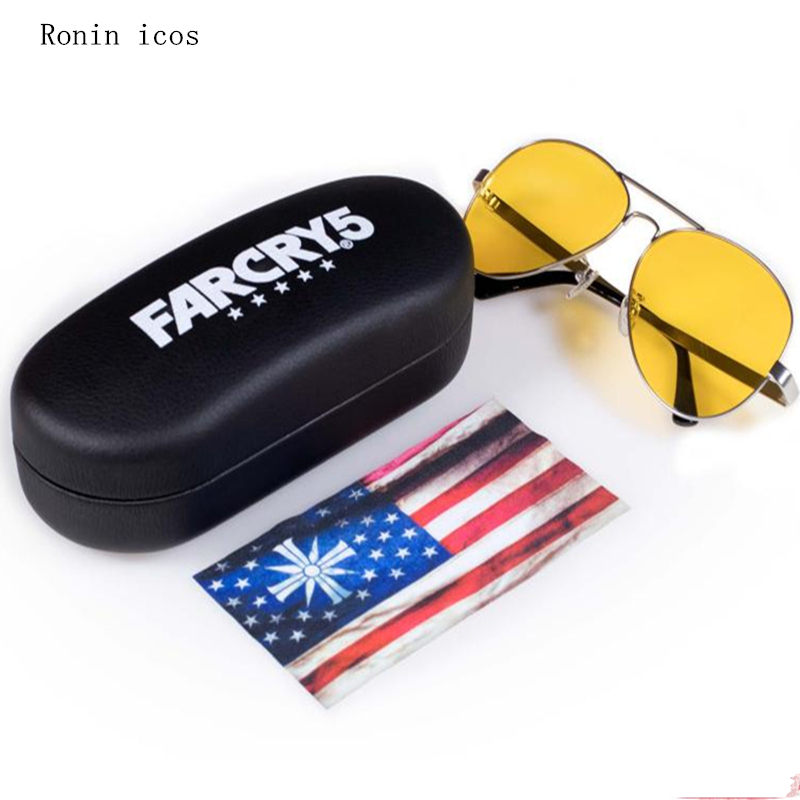 Hot Sale FAR CRY 5 Cosplay Prop Sunglasses Game Joseph Seed Eyewear Yellow Driver glasses Accessories image