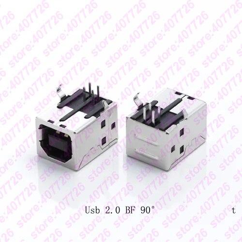 5 шт. USB 2,0 разъем гнездо типа B 90 градусов разъем Пайки PCB разъем интерфейс принтера белый/черный
