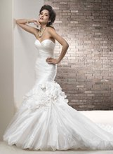11-27 Beautiful Sweetheat Handmade Flower Taffeta Mermaid Wedding Dresses