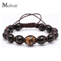 Magic Fish Bileklik Bracelet Men Weave 10mm Black Natural Stone Chain Link 12mm Tiger Eye Charms