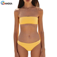 BANDEA Sexy Bikini Brazilian Women Swimwear Beach Wear Bathing Suit Female Bandeau Bikini Set Solid Micro