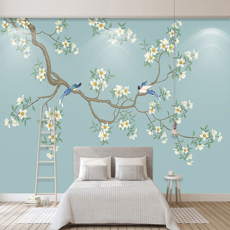 3D Wallpaper Modern Classic Flowers And Birds Photo Wall Murals Living Room Study Home Decor Self-Adhesive Waterproof 3D Sticker