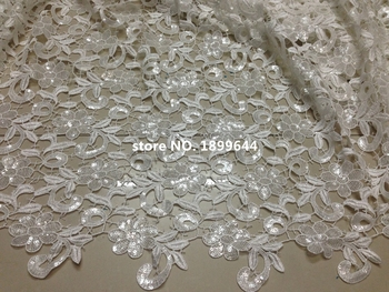 African sequins tulle lace Hot new for 2016 Color white guipure african sequence cupion lace fabric for Nigerian wedding dresses