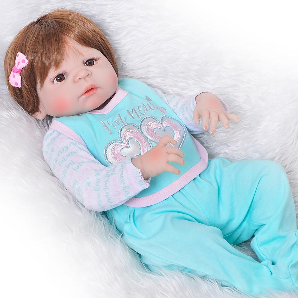 Schöne Lebensechte Reborns de Volle Silikon Vinyl Körper Baby Puppen Simulation 23 zoll Mädchen Reborn Babys Neue Design Kinder Geschenke-in Puppen aus Spielzeug und Hobbys bei  Gruppe 1