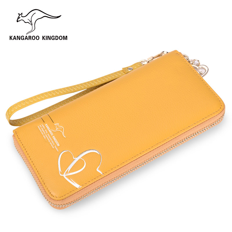 carteiras de couro genuíno longo Tipo de Estampa : Sólida