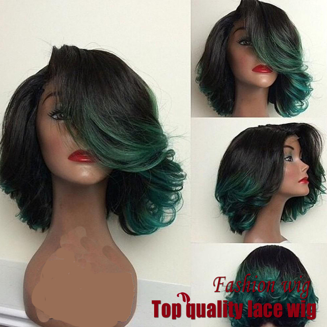 Fashion Ombre Dark Green body wave Short Bob Synthetic Lace Front Wig Natural Black/Turquoise Heat Resistant Hair Women Wigs