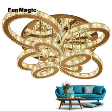 Post-modern Romantic Crystal Diamond LED Oval Ring Ceiling Light Fixture Chandelier Living Room Decorative Lighting Lamp