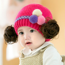 2016 New Winter Newborn Cute Baby Girls Beanies Hat+ Wig  New Born Photographie Winter Cap Kids Knitted Infant Hat