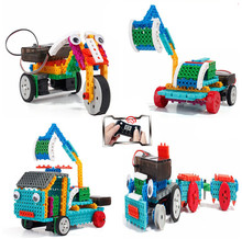 4 in 1 Remote control RC Motorcycles Excavator Trailer Truck robot 117pcs Building blocks assembly toy