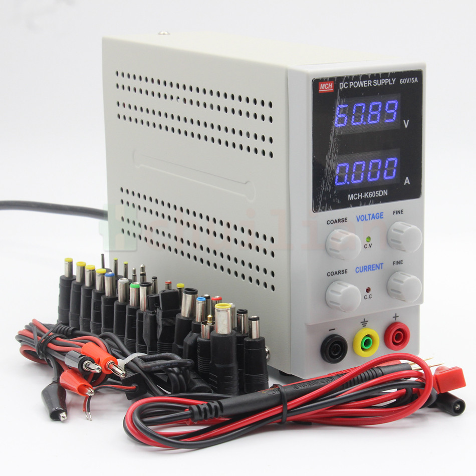 MCH-605DN 605D DC power supply 60V 5A digital high-precision ammeter for notebook phone repair 110V 220V US EU Plug DC adapter rps6005c 2 dc power supply 4 digital display high precision dc voltage supply 60v 5a linear power supply maintenance