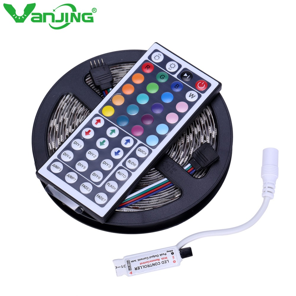RGB LED Strip 5050 5M 300LEDs SMD Nonwaterproof LED Tape+ 44Key IR Remote Mini Controller High Quality RGB LED Light Strip