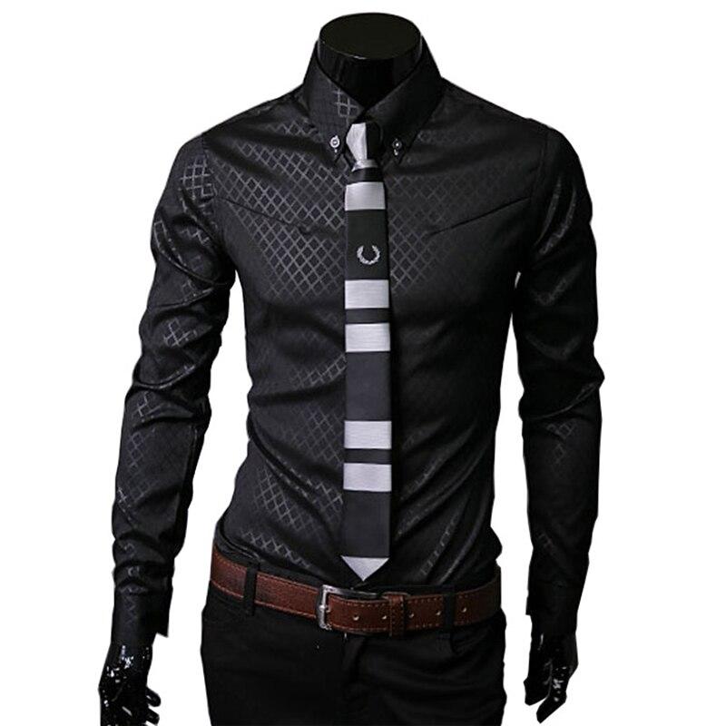 WSGYJ Korean Wild Men Plaid Shirt Slim Fit Casual Long Sleeve Dress Shirt Business Social Men Clothes Plus Size 5XL White