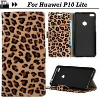 JURCHEN Silicone Cases For Huawei P10 Lite Case Leather Wallet Leopard Print 3D TPU Flip For