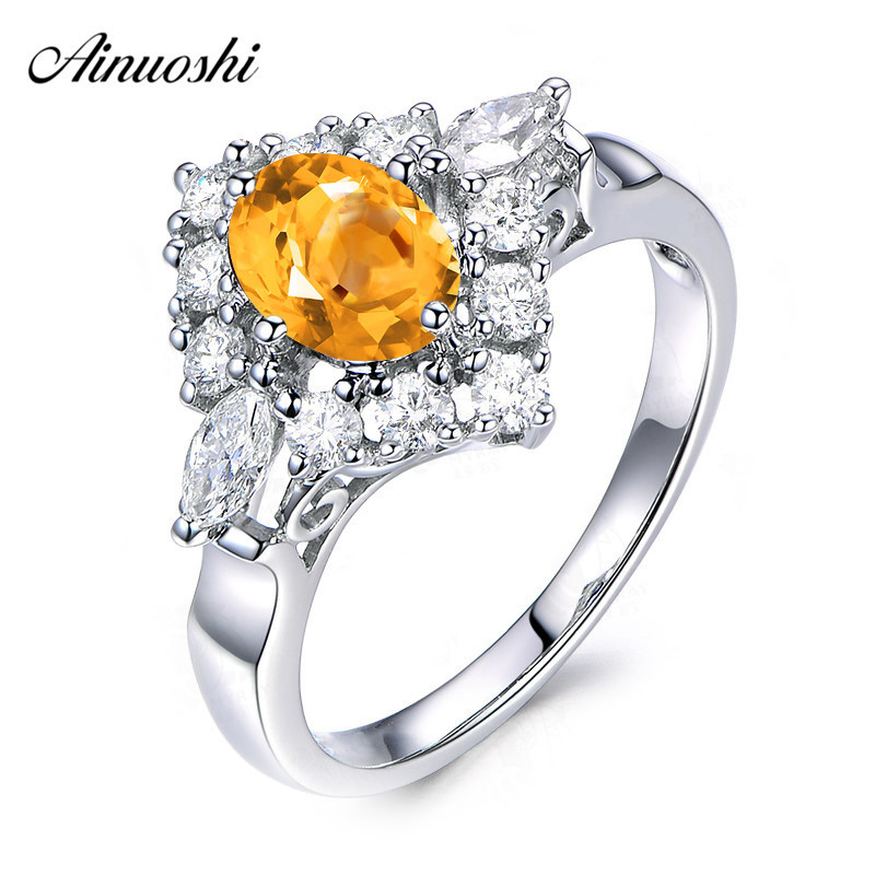 AINUOSHI Natural Citrine Diamond Halo Ring 1.25ct Oval Cut Gems Engagement Party Women Jewelry Genuine 925 Sterling Silver RingAINUOSHI Natural Citrine Diamond Halo Ring 1.25ct Oval Cut Gems Engagement Party Women Jewelry Genuine 925 Sterling Silver Ring
