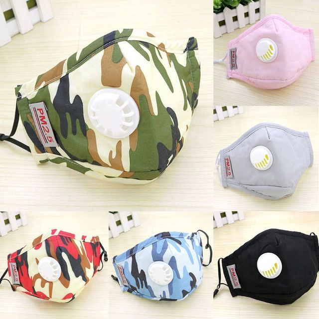 Adult PM2.5 Cotton Mouth Mask Replaceable Carbon Air Filter Camouflage Printed Mouth-Muffle Respirator With Exhaust Valve