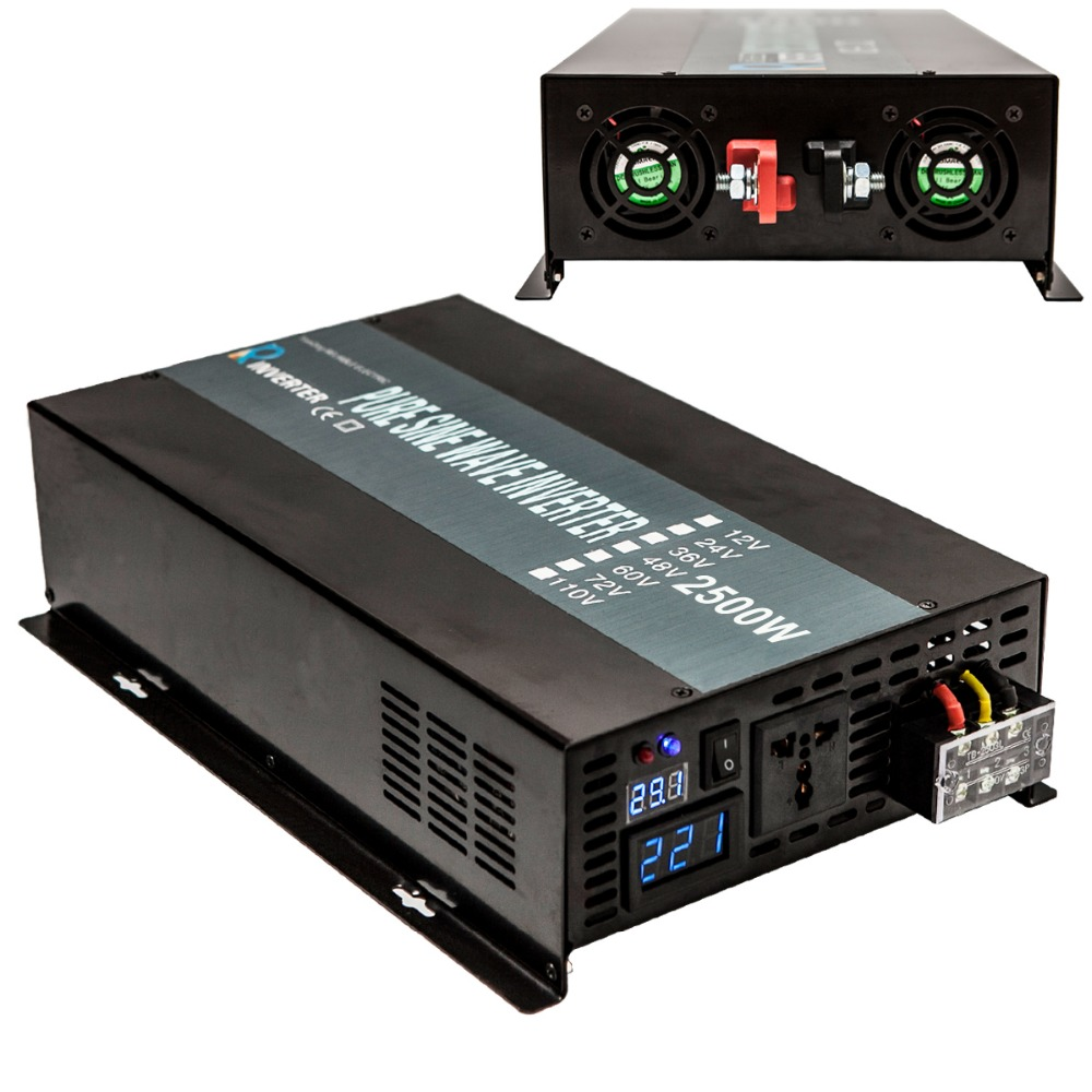 Pure Sine Wave Power Inverter 12V 120V 2500W Solar Inverter Power Supply 12V 24V 48V DC to 120V 220V 240V AC Voltage Transformer pure sine wave solar inverter 12v 220v 1500w power inverter generator voltage converter 12v 24v 48v dc to 110v 120v 220v 230v ac