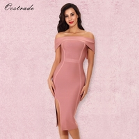 Ocstrade Women Dresses New Arrival 2017 Sexy Rose Pink Off The Shoulder Bandage Bodycon Dress Celebrity