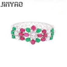 JINYAO Fashion White Gold Color Red&Green Cubic Zircon Charm Wrist Bracelet Bangle For Women Wedding Party Jewelry