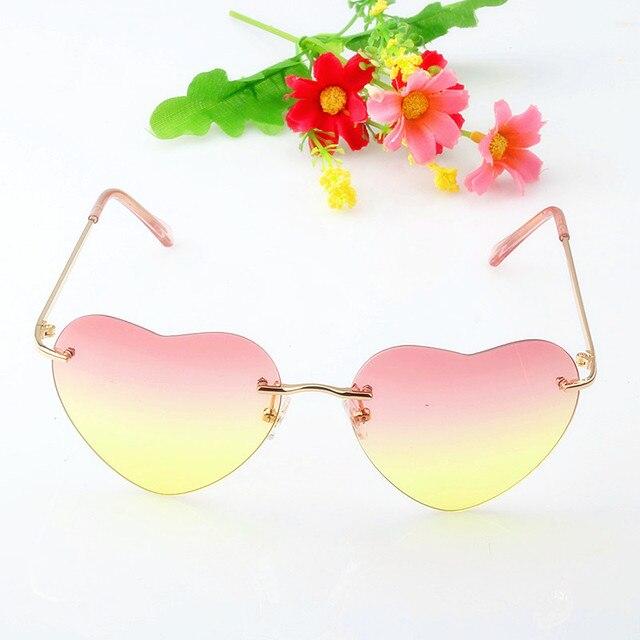 e3ad0ea73c 2018 dama gafas en forma de corazón sin montura gafas de sol de las mujeres  de