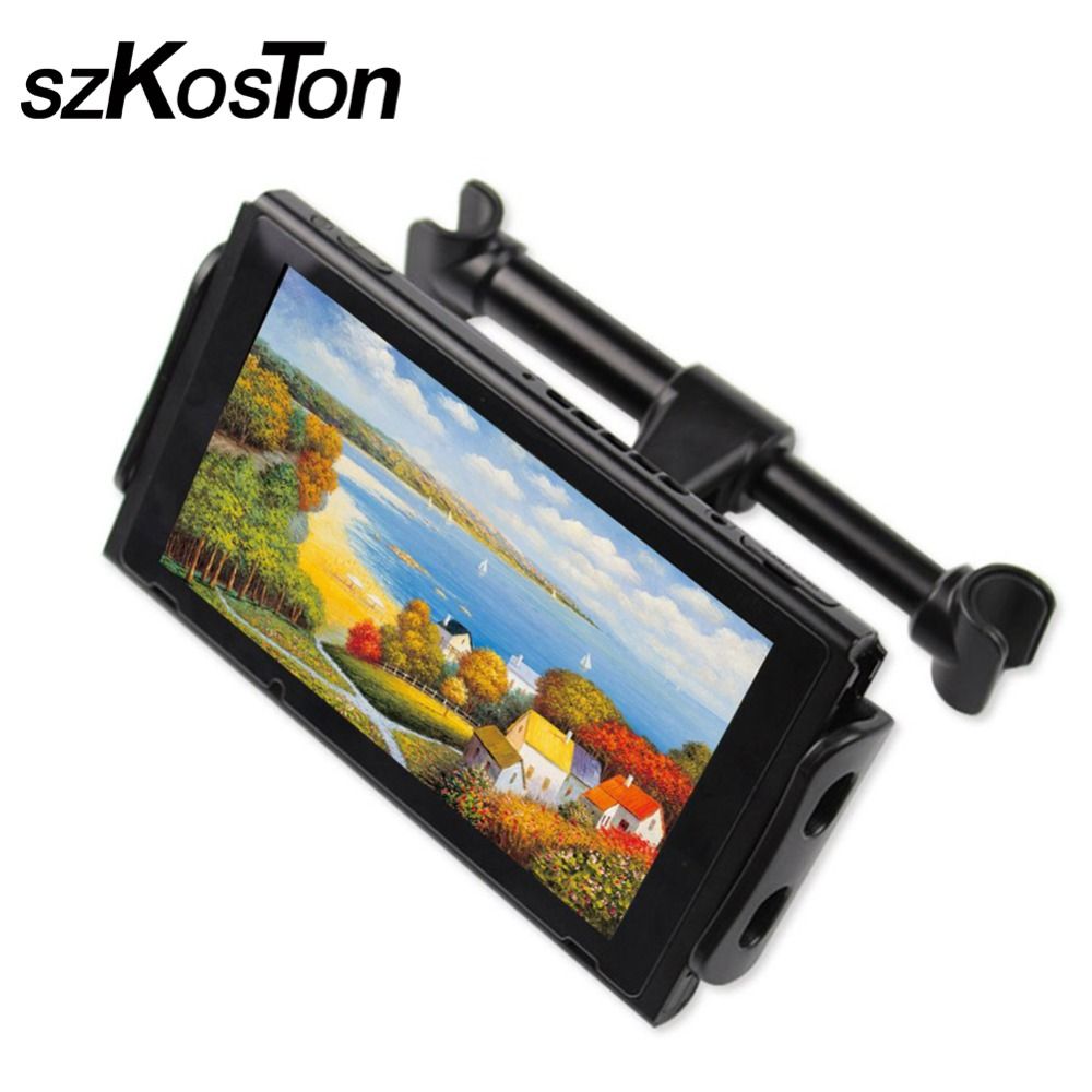 2018 For 4-11 inches Phone Tablet Game Machine Stand Adjustable Car Back Seat Headrest Mount Dustproof Black Stand For NS Switch