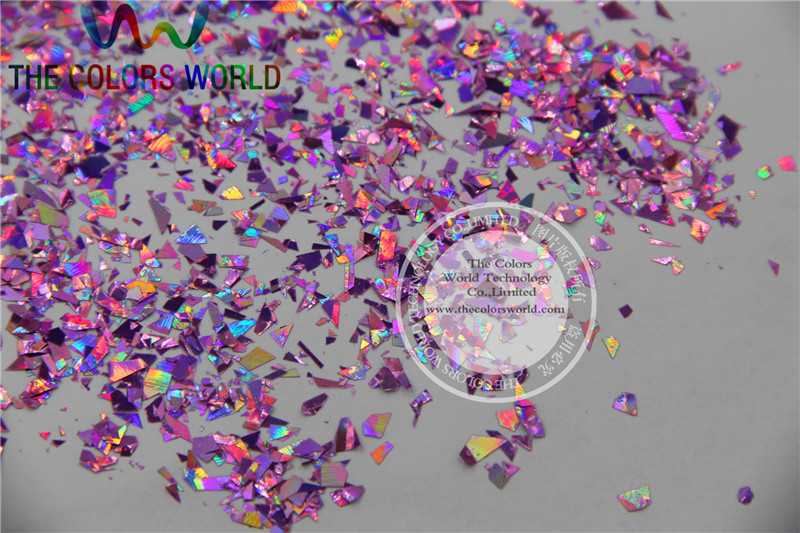 TCA901 Holographic Peach Color Mylar Sheet Random Cut Size Flakes ...