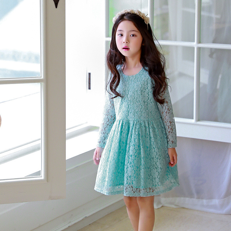 lace teenage kids princess dress long sleeve tops blue little girls party dresses for spring autumn 2018 new clothing hayden girls boho ethnic dress designs teenage girls national embroidered dresses flare sleeve loose fit dress for 7 to 14 years
