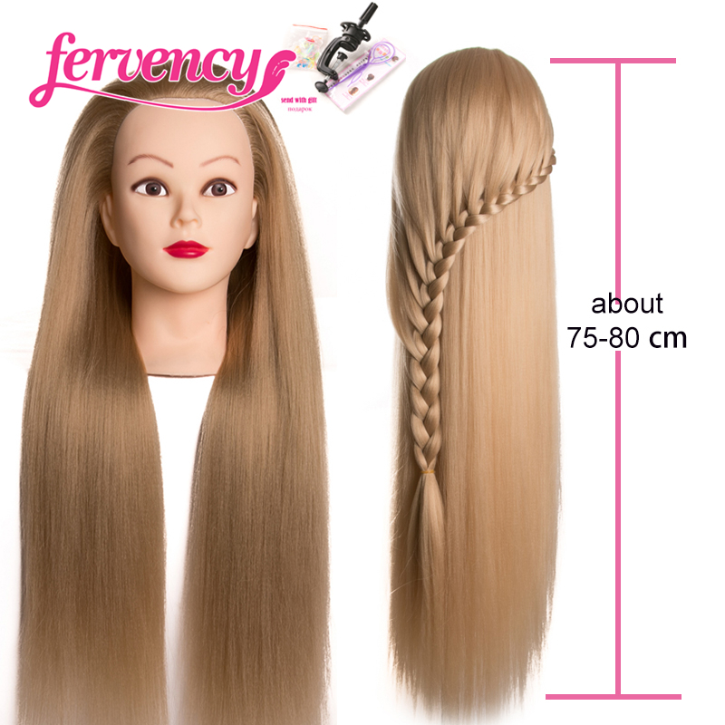 Head Dolls for Hairdressers 80 cm hair Synthetic Mannequin Head Hairstyles Female Hairdressing Styling Training Head blonde