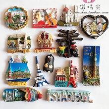 Japan Austria Czech Republic Russia Turkey Australia Fridge Magnets 3D Magnet Sticker Travel Souvenir Kitchen Decoration