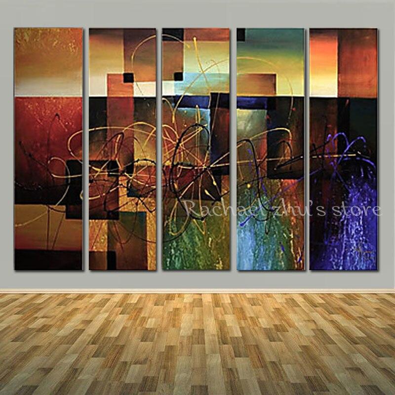 Супер большой ручной росписью современный абстрактный 5 panles картина маслом на холсте Абстрактная Книги по искусству стены picturers для Гостина