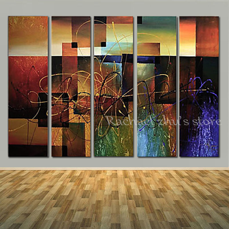 Super Large Hand Painted Modern Abstract 5 Panles Oil Painting On Canvas Abstract Art Wall Picturers For Living Room Home Decor
