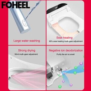 Image 4 - FOHEEL kare akıllı tuvalet oturağı kapağı elektronik bide klozet koltuk ısıtma temiz kuru akıllı tuvalet kapağı banyo için