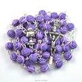 Rosa de plástico católica del collar del rosario del grano efecto hermosa bolas de agua