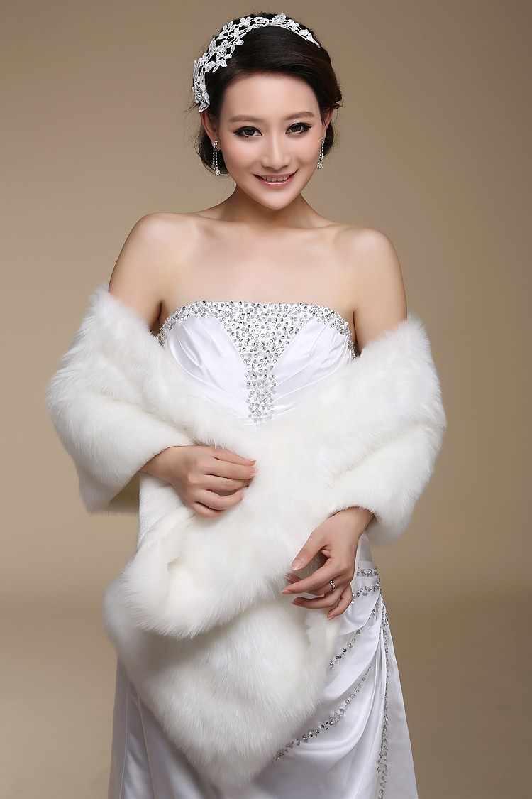 New Elegant Long Hair Faux Fur Wedding Shawl Stoles Wraps Cape for Women