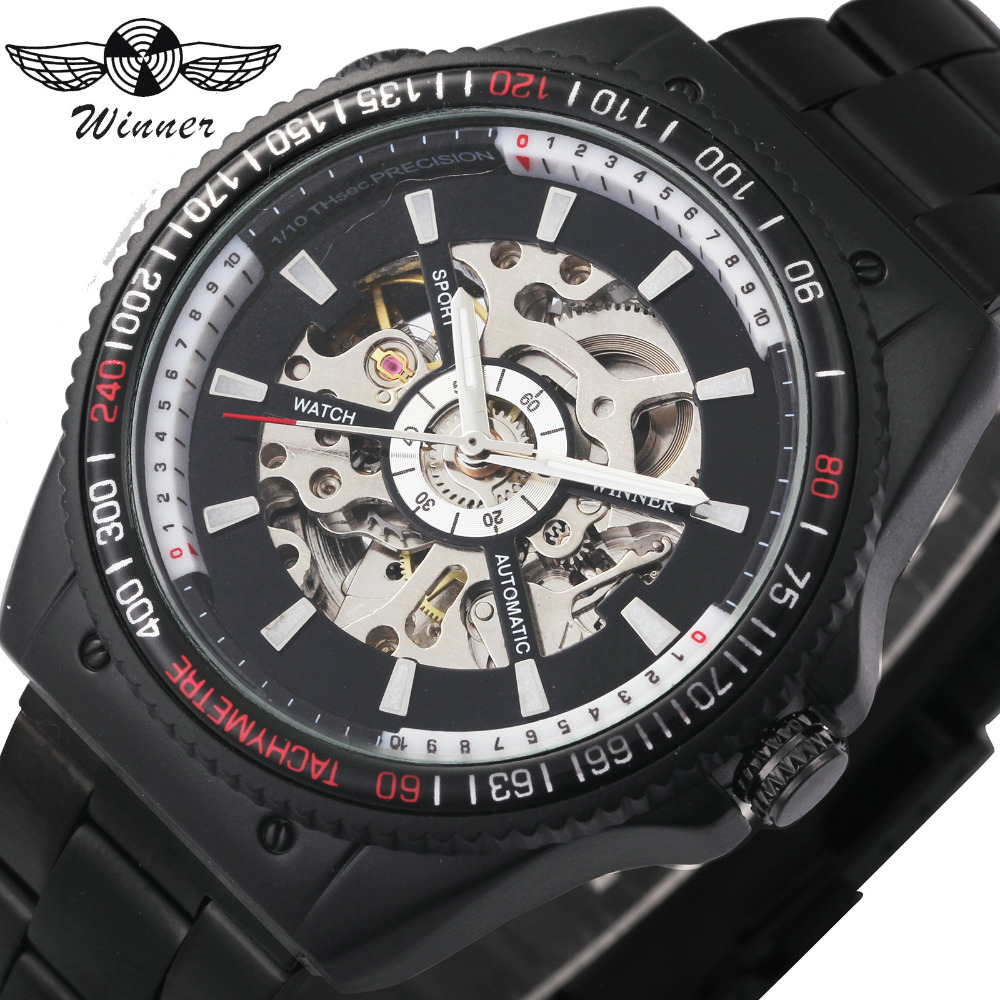 2019 WINNER Military Automatic Mechanical Watch Men Black Stainless Steel Strap Skeleton Wristwatch Luminous Hands Top Brand2019 WINNER Military Automatic Mechanical Watch Men Black Stainless Steel Strap Skeleton Wristwatch Luminous Hands Top Brand