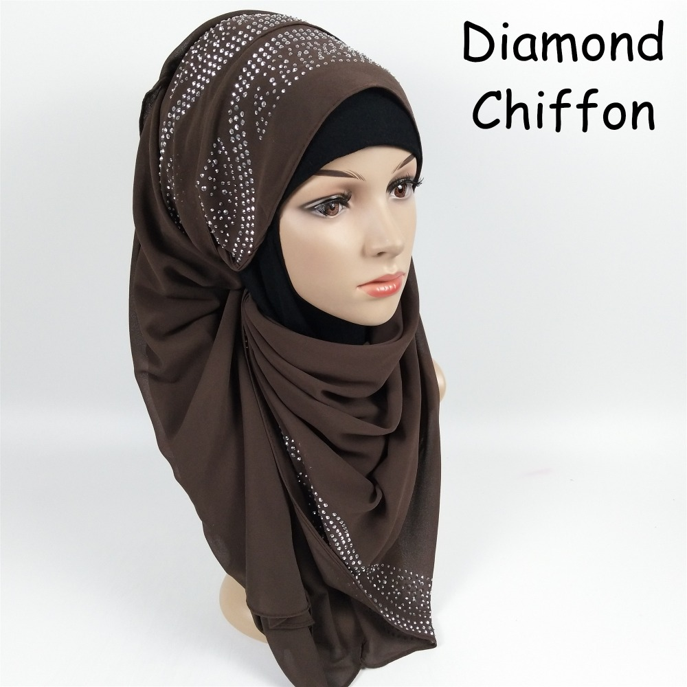 XK5 High quality solid diamond bubble chiffon hijab   scarf     wrap   shawl women lady   scarves   headband 180*75cm can choose colors