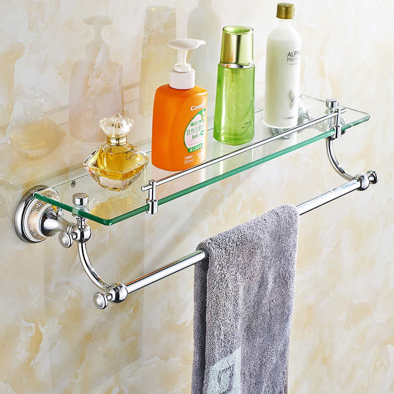 Vintage Polished Copper Glass Shelf Cosmetic Mirror Holder Single Towel Rack Hanging Double Towel Rack Bathroom Accessories L-7 antique crystal golden towel rack polished copper towel holder bathroom shelf bathroom accessories products