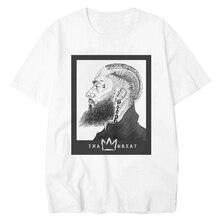 The Great Nipsey Printed Men T Shirts Hip Hop 2019 Summer White Tops Harajuku Streetwear Rapper Lil Peep Hussle Tee
